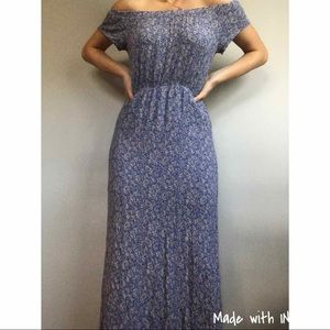 Lush Floral Off The Shoulder Maxi Dress Side Slits